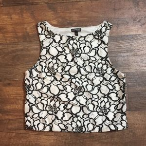 Express black and white crop top small